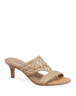 33678066ebe9 Donald J Pliner Kikki Woven Metallic Leather Sandals