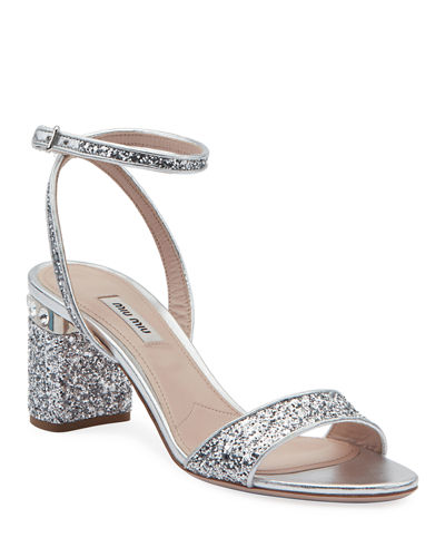 86bf6e80a9ebd Quick Look. Miu Miu · Glitter Crystal-Embellished Block-Heel Sandals