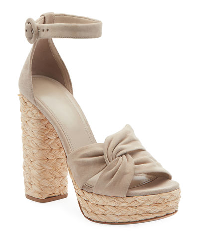 Suede and Raffia Platform Sandals
