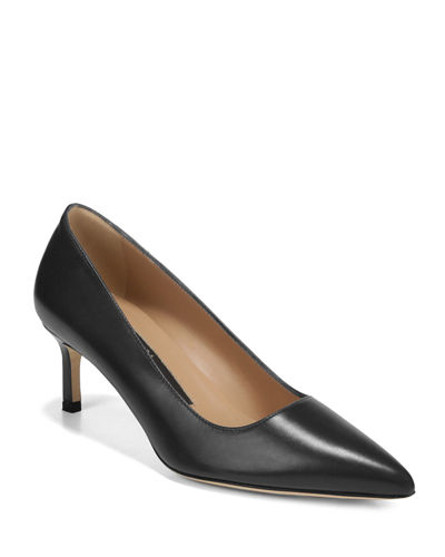 Nikole Leather Mid-Heel Pumps