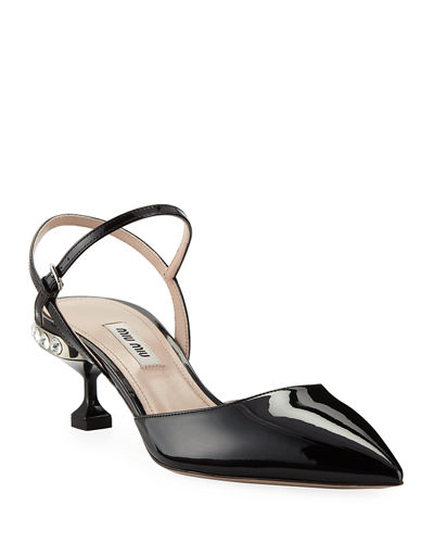 Patent Leather Jeweled Ankle-Strap Pumps