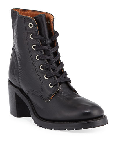 Sabrina Distressed Lace-Up Boots