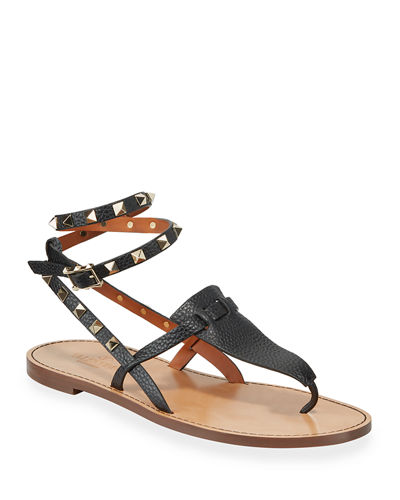 Flat Rockstud Ankle-Wrap Gladiator Sandals