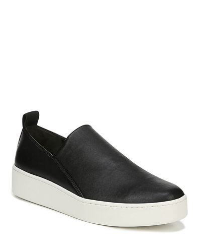 Vince Saxon Stretch-Leather Platform Sneakers