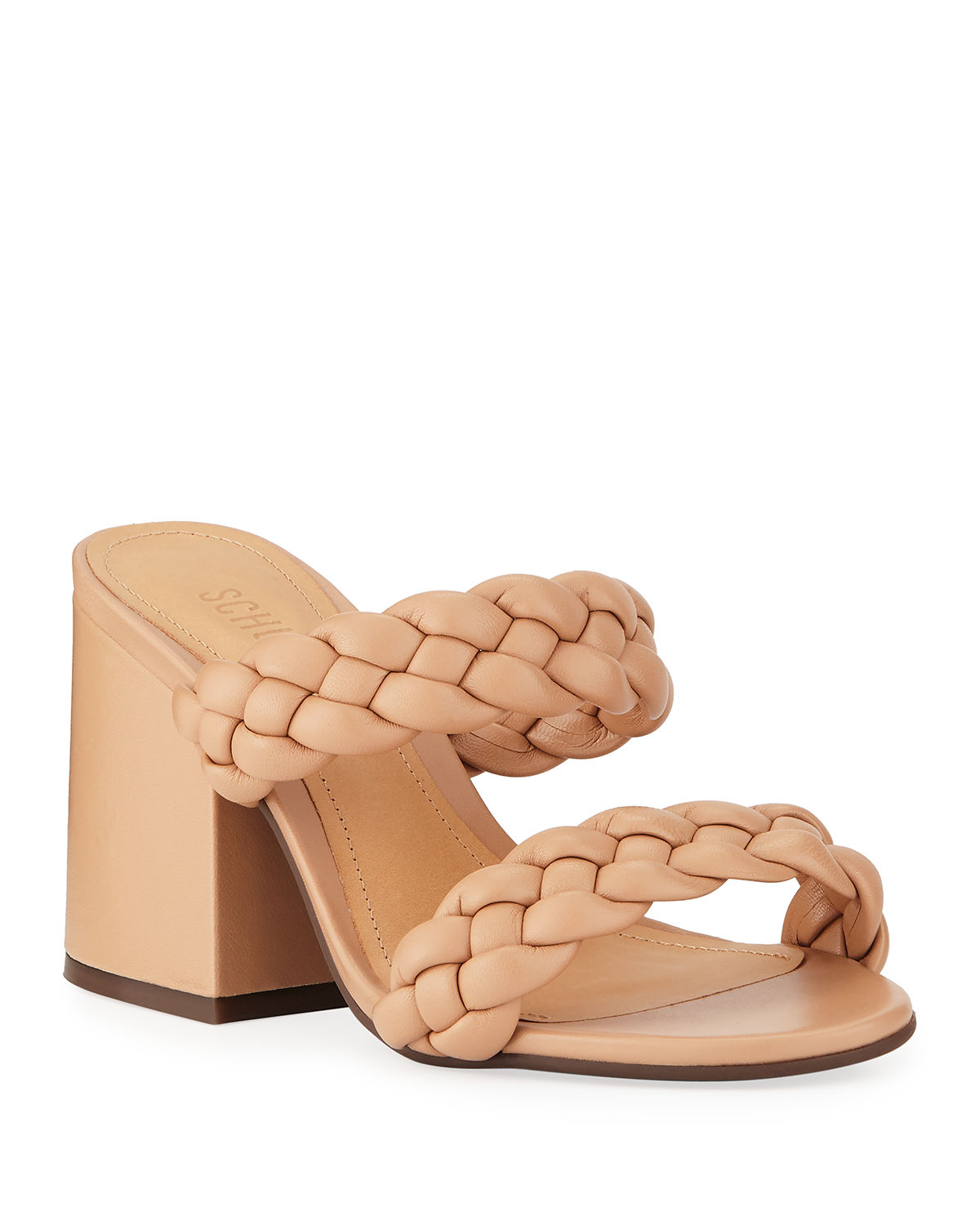 f848a206a5921 Schutz Elida Braided Leather Chunky-Heel Slide Sandals