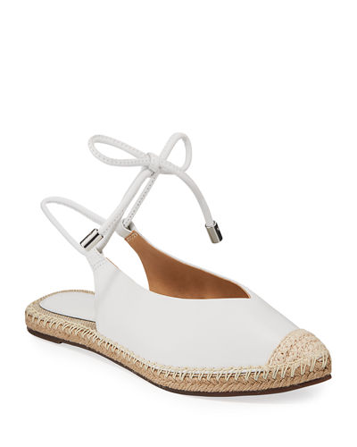 Laba Flat Leather Ankle-Tie Espadrilles