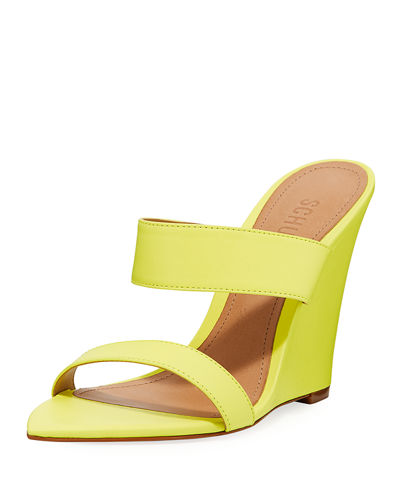 Soraya Leather Wedge Slide Sandals
