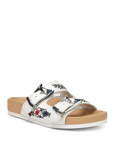 Bayli Embroidered Leather Slide Sandals