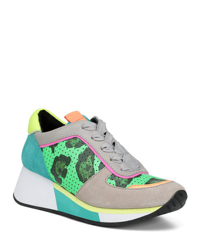 Prea Printed Leather Wedge Sneakers