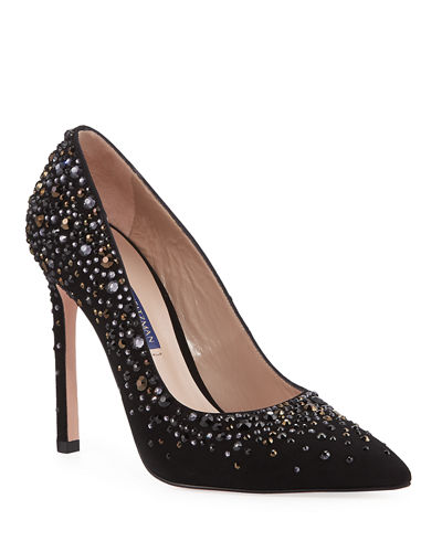 Lalaina Crystal-Embellished Suede Pumps