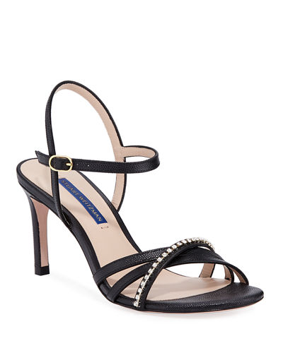 Oriana 75 Crystal-Strap Patent Leather Sandals
