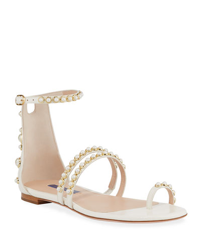 Stuart Weitzman Petrina Studded Patent Leather Flat Sandals