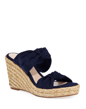 ebe24baba34 Stuart Weitzman Sarina Knotted Suede Wedge Sandals