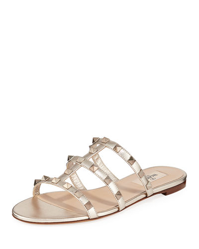 Rockstud Metallic City Flat Slide Sandals