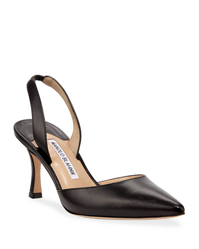 Carolyne Leather Mid-Heel 70mm Halter Pumps