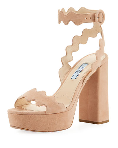 Scalloped Suede Platform Sandals