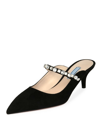 Suede Mule with Jeweled Strap