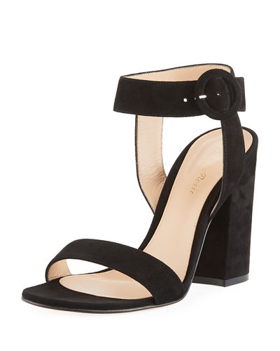 Suede Chunky-Heel Ankle-Wrap Sandals