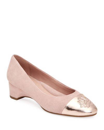 Babe Metallic-Capped Suede Ballet Pumps