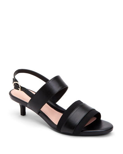 Odette Leather Kitten-Heel Sandals