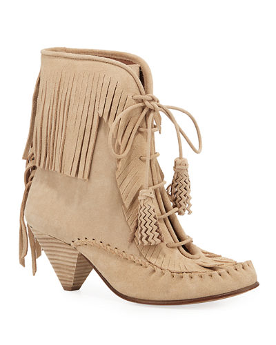 Fringed Suede Moccasin Booties
