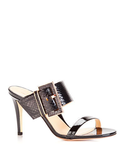 Lilith Metallic Snakeskin Buckle Slide Sandals