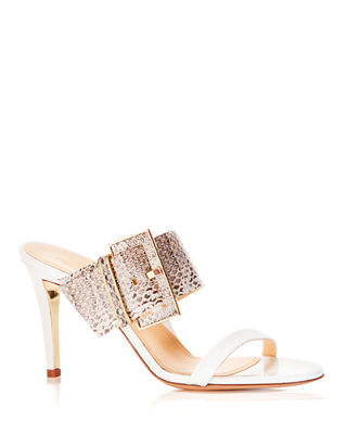Marion Parke Lilith Metallic Snakeskin Buckle Slide Sandals