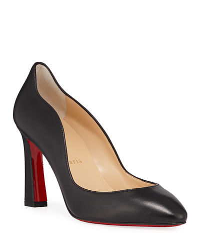 Agneska Scallop Leather Red Sole Pumps