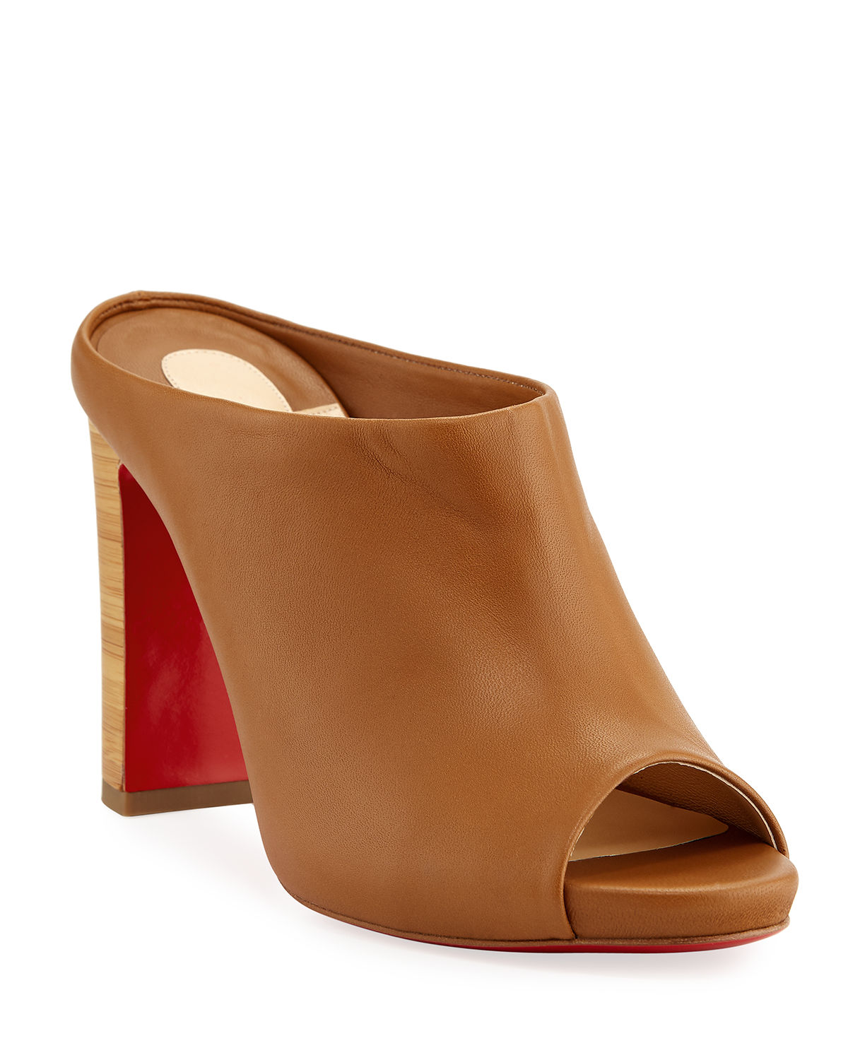 Corinthe Peep-Toe Leather Red Sole Mules