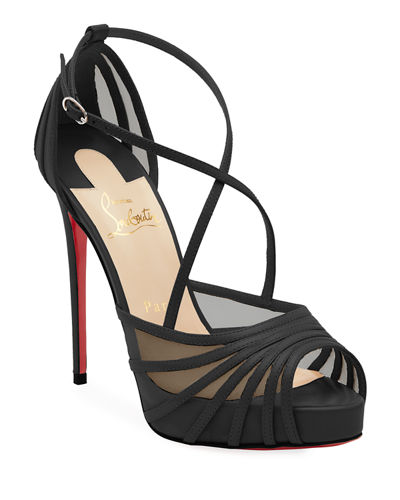 Christian Louboutin Filamenta Strappy Mesh Red Sole Sandals