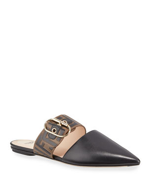 a3056ffe48 Fendi Leather Mules with FF Strap