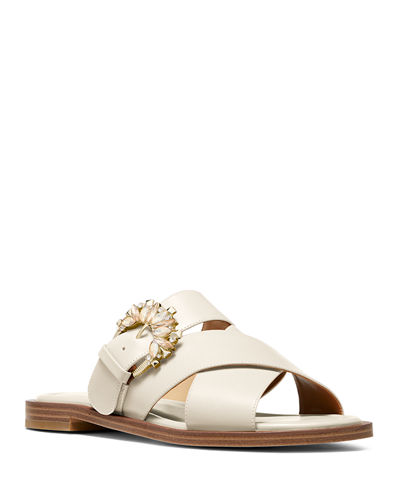 Frieda Crystal-Buckle Leather Slide Sandals