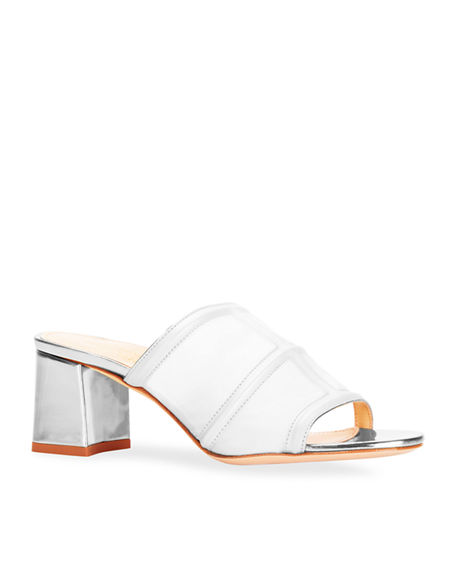 Marion Parke Bea Soft Metallic Vinyl Slide Sandals