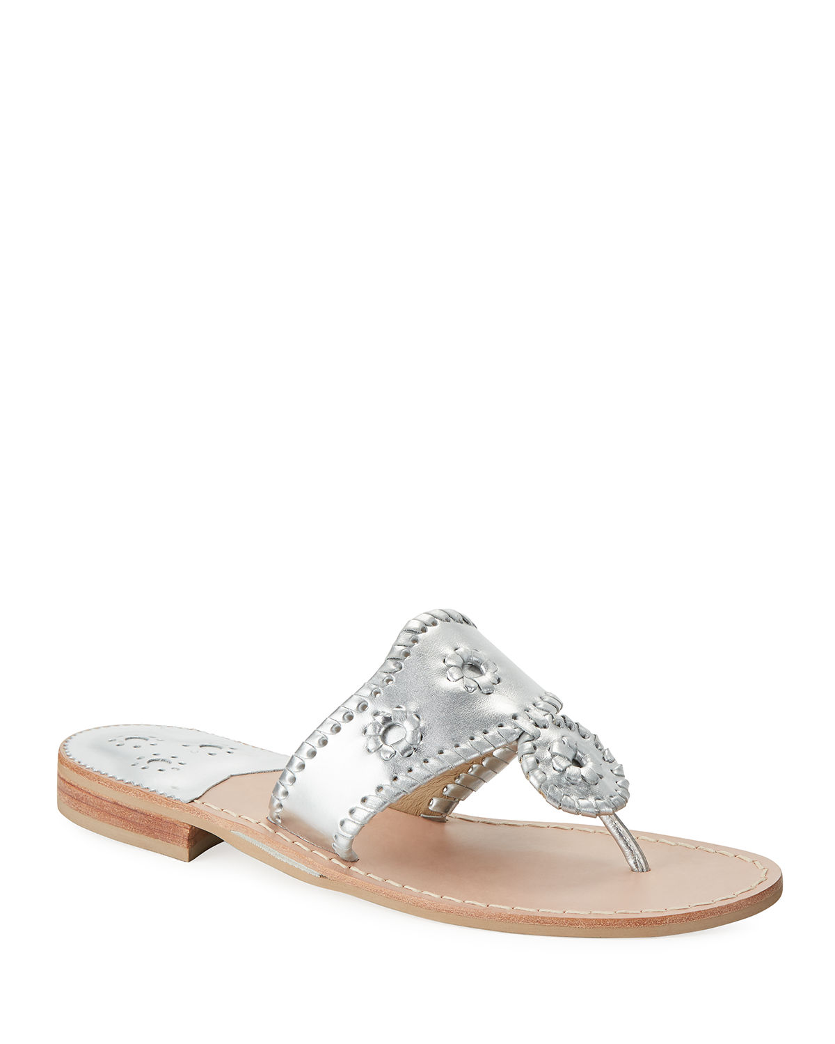 Whipstitched Leather Slide Sandals