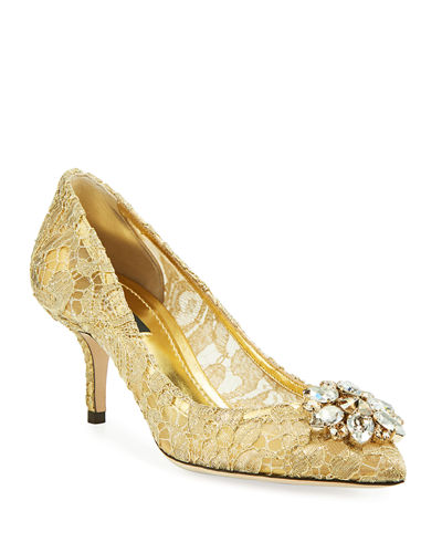 Bellucci Jewel-Embellished Metallic Lace Pumps