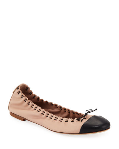Scalloped Leather Cap-Toe Ballet Flats