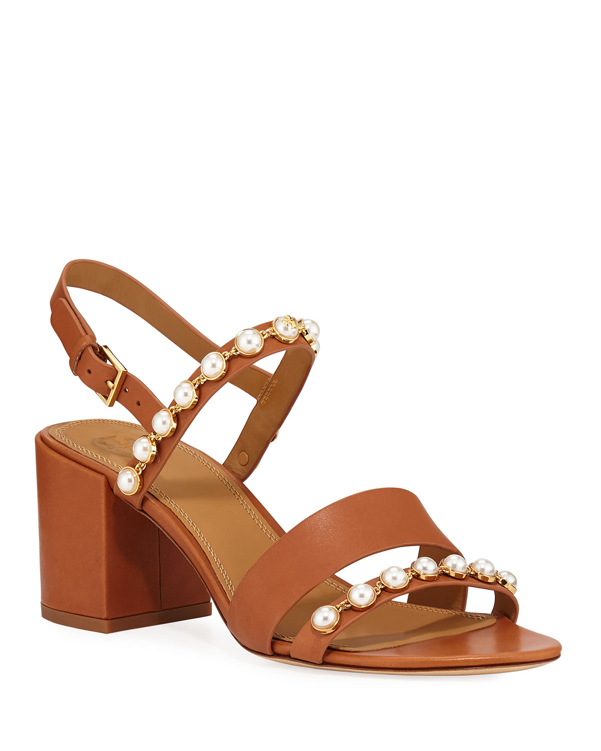 3c1a39cae2d Tory Burch Emmy Pearly Studded Block-Heel Sandals