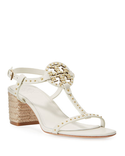 Tory Burch Miller Studded T-Strap Espadrille Sandals