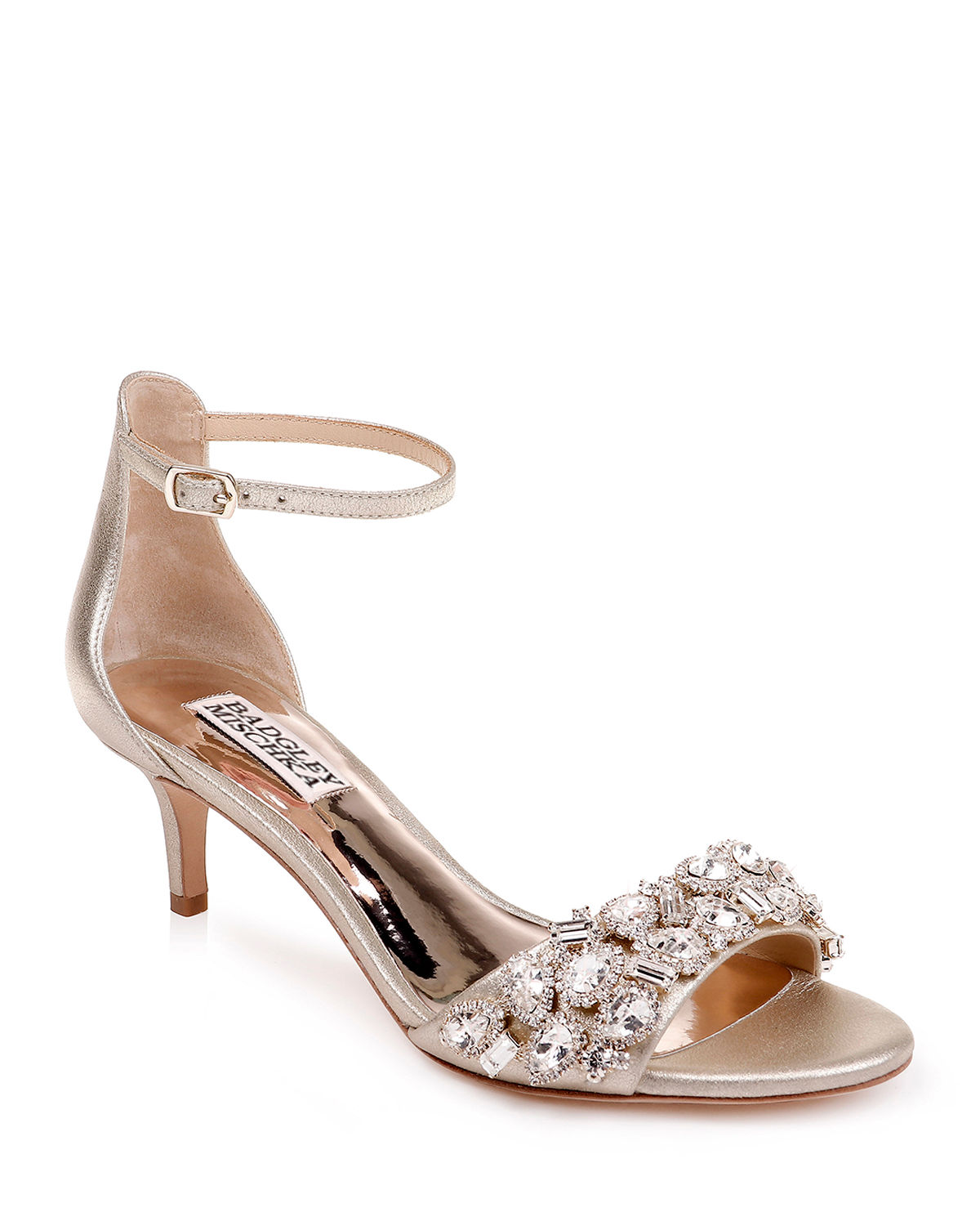 Lara Embellished Metallic Kitten-Heel Sandals