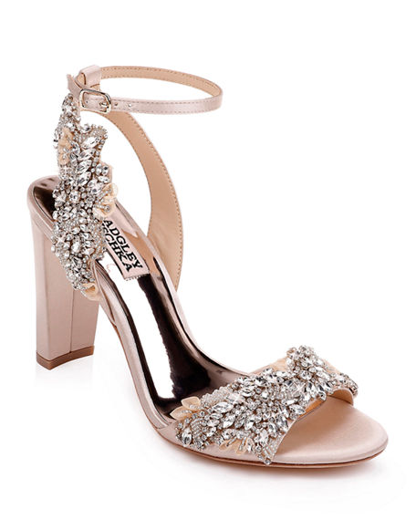 Badgley Mischka Libby Embellished Ankle-Wrap Sandals