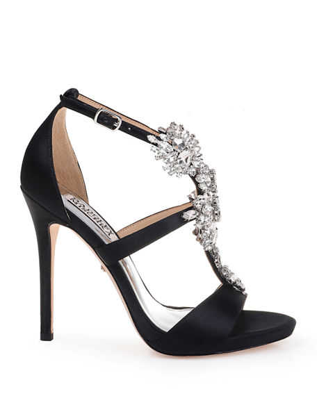 Image 2 of 4: Badgley Mischka Leah Embellished T-Strap Sandals