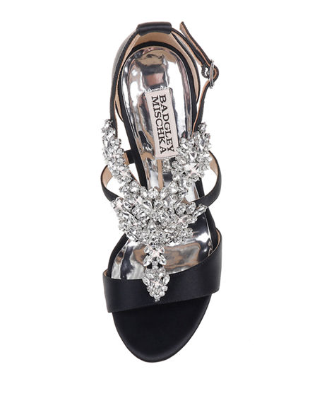 Image 3 of 4: Badgley Mischka Leah Embellished T-Strap Sandals