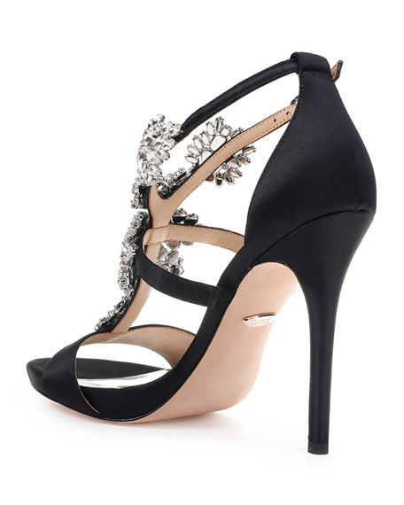 Image 4 of 4: Badgley Mischka Leah Embellished T-Strap Sandals