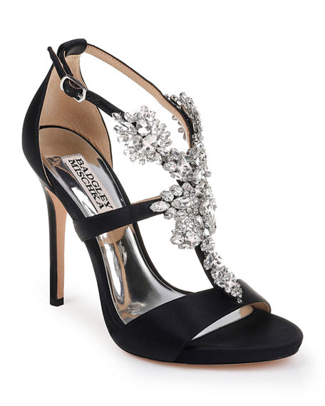 Image 1 of 4: Badgley Mischka Leah Embellished T-Strap Sandals