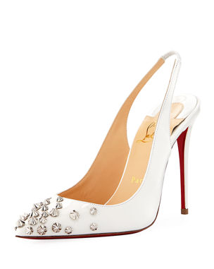 af1a09ff75aa Christian Louboutin Drama Sling 100mm Spike Leather Red Sole Pumps