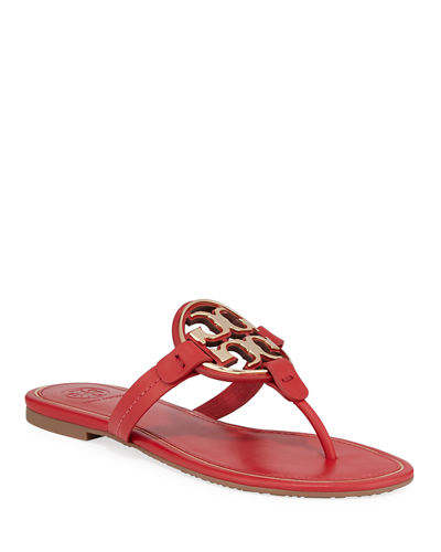 Metal Miller Logo Leather Sandals