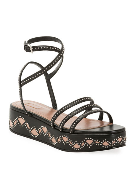ALAIA 45mm Leather Flatform Sandals