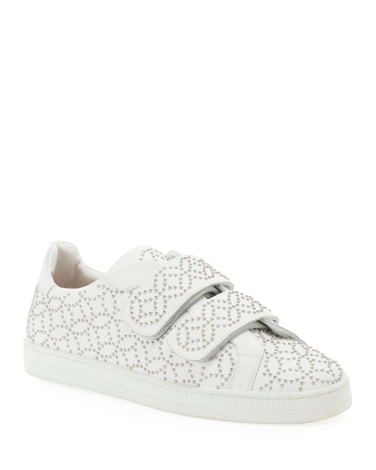 Grip-Strap Leather Sneakers w/ Studs