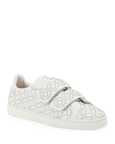 ALAIA Grip-Strap Leather Sneakers w/ Studs