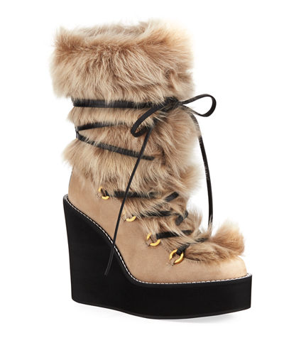 5675b895855 Quick Look. Stuart Weitzman · Nikita Mid-Calf Fur Wedge Boots